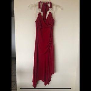 Trixxi Red Halter Dress Asymmetrical Hem